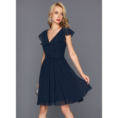 V-neck Knee-Length Chiffon Cocktail Dress (270214044)