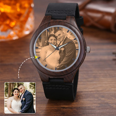 Personalized Vintage Custom Engraved Photo Engraved Ebony Watches