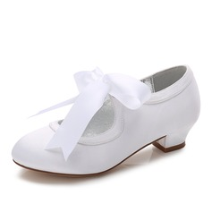 Girl's Round Toe Closed Toe Mary Jane Silk Like Satin Low Heel Flower Girl Shoes