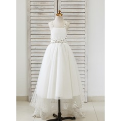 A-Line/Princess Asymmetrical Flower Girl Dress - Tulle Straps With Lace/Rhinestone