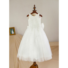 Tea-length Flower Girl Dress - Satin Tulle Sleeveless Scoop Neck (269213901)