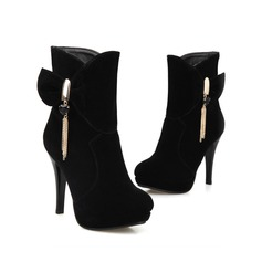 Women's Suede Stiletto Heel Platform Ankle Boots With Bowknot Tassel shoes