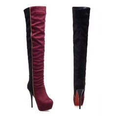 Women's Leatherette Stiletto Heel Platform Knee High Boots With Split Joint shoes