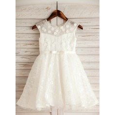 A-Line/Princess Knee-length Flower Girl Dress - Satin/Tulle/Lace/Cotton Sleeveless Scoop Neck With Flower(s)