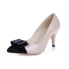 Leatherette Spool Heel Pumps Closed Toe With Bowknot shoes