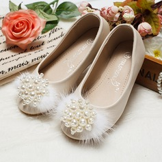 Girl's Leatherette Flat Heel Round Toe Flats With Imitation Pearl
