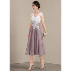A-Line V-neck Tea-Length Chiffon Lace Mother of the Bride Dress (008143390)