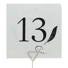 Feather Pearl Paper Table Number Cards