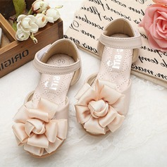 Girl's Leatherette Flat Heel Peep Toe Mary Jane Sandals With Satin Flower Velcro