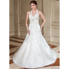 A-Line/Princess Halter Chapel Train Satin Wedding Dress With Ruffle Lace Beading