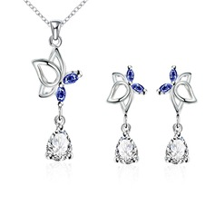 Elegant Copper/Zircon/Silver Plated Ladies' Jewelry Sets