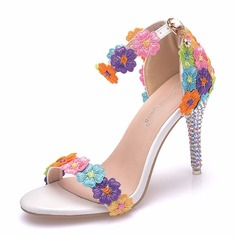 Women's Leatherette Stiletto Heel Peep Toe Platform Sandals With Flower