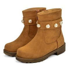 Girl's Microfiber Leather Flat Heel Round Toe Mid-Calf Boots Boots With Imitation Pearl Zipper
