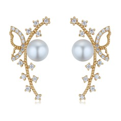 Beautiful Zircon Pearl Copper Silver Ladies' Fashion Earrings