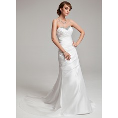 A-Line/Princess Sweetheart Court Train Taffeta Wedding Dress With Ruffle Beading Sequins