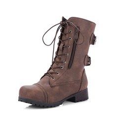 Women's PU Chunky Heel Pumps Boots Martin Boots With Buckle Zipper Lace-up shoes