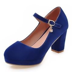 Women's Suede Chunky Heel Pumps Platform Closed Toe With Lace-up shoes (085164181)