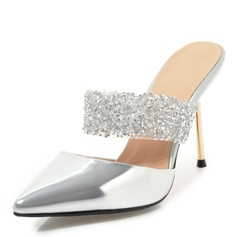 Women's PU Stiletto Heel Sandals Pumps Slingbacks Slippers With Rhinestone shoes (087155360)
