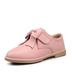 Girl's Real Leather Flat Heel Closed Toe Flats With Bowknot