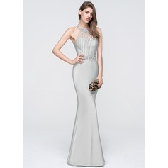 Sheath/Column Halter Floor-Length Jersey Prom Dresses With Beading Sequins