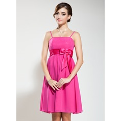 Empire Knee-Length Chiffon Bridesmaid Dress With Beading Bow(s)