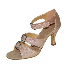 Women's Sparkling Glitter Heels Latin With Buckle Hollow-out Dance Shoes