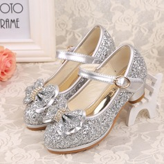 Girl's Closed Toe Sparkling Glitter Low Heel Pumps Flower Girl Shoes With Bowknot Sequin Velcro Ruffles