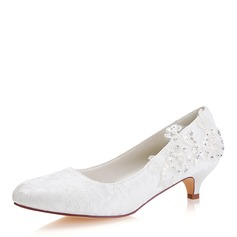 Women's Lace Silk Like Satin Kitten Heel Closed Toe With Sequin Stitching Lace Pearl