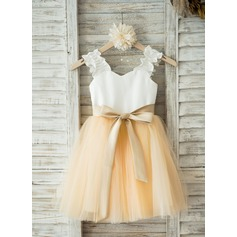 A-Line/Princess Knee-length Flower Girl Dress - Satin/Tulle Straps With Sash