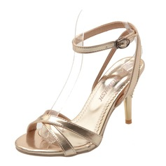 Women's Leatherette Stiletto Heel Sandals Slingbacks shoes (087090837)