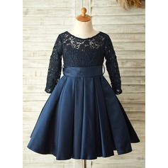 A-Line/Princess Knee-length Flower Girl Dress - Satin/Lace Long Sleeves Scoop Neck With Sash/Bow(s)