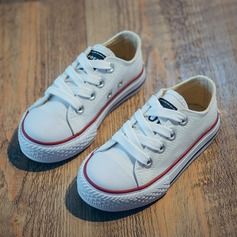 Unisex Round Toe Canvas Flat Heel Flats Sneaker & Athletic With Lace-up