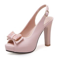 Women's Leatherette Chunky Heel Sandals Pumps Platform Peep Toe Slingbacks With Bowknot Sequin shoes (085199578)