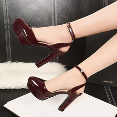 Women's Patent Leather Chunky Heel Sandals Platform Closed Toe With Buckle shoes