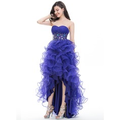 Ball-Gown Strapless Asymmetrical Organza Prom Dress With Ruffle Beading Sequins