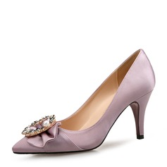 Women's Silk Like Satin Stiletto Heel Pumps Closed Toe With Rhinestone Imitation Pearl shoes (085165155)