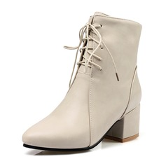 Women's PU Chunky Heel Pumps Closed Toe Boots Ankle Boots With Zipper Lace-up shoes