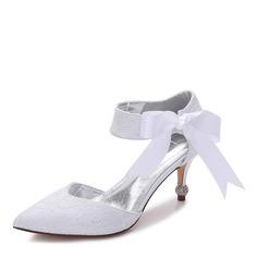 Women's Lace Silk Like Satin Stiletto Heel Closed Toe Pumps With Bowknot Imitation Pearl Rhinestone Ribbon Tie