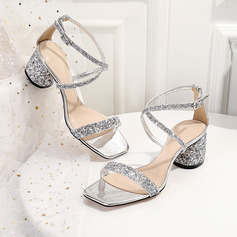Women's Leatherette Sparkling Glitter Low Heel Peep Toe Sandals With Sequin