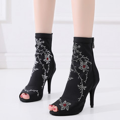 Women's Leatherette Dance Boots With Beading Dance Shoes