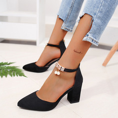 Women's PU Chunky Heel Pumps With Imitation Pearl Zipper shoes (085236357)