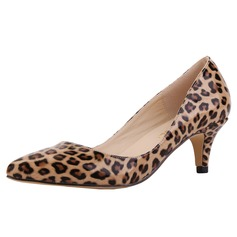 Women's Leatherette Cone Heel Pumps Closed Toe shoes (085113497)