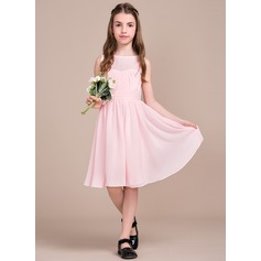 A-Line/Princess Knee-length Flower Girl Dress - Chiffon Sleeveless Scoop Neck With Ruffles