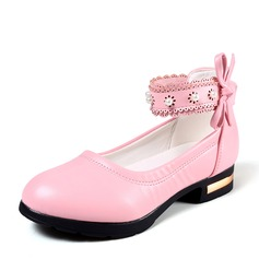 Girl's Closed Toe Ballet Flat Leatherette Flat Heel Flats Flower Girl Shoes With Beading Bowknot Velcro