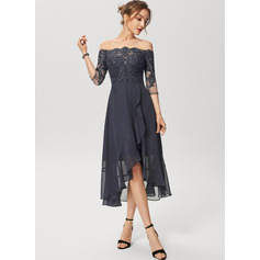 A-Line Off-the-Shoulder Asymmetrical Chiffon Lace Cocktail Dress With Sequins (016230211)