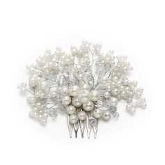 Ladies Charming Crystal/Imitation Pearls Combs & Barrettes With Venetian Pearl/Crystal (Sold in single piece)