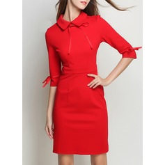 Cotton Blends With Stitching Above Knee Dress (199136461)