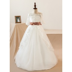 Ball-Gown Off-the-Shoulder Watteau Train Tulle Junior Bridesmaid Dress With Sash Bow(s)