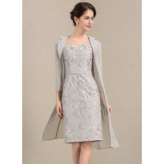 Sheath/Column V-neck Knee-Length Lace Mother of the Bride Dress (267213729)