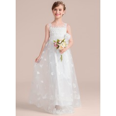 A-Line/Princess Floor-length Flower Girl Dress - Tulle/Lace Sleeveless Square Neckline With Flower(s)